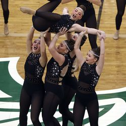Hillcrest High School's drill team competes in the dance category of the 5A state finals at the UCCU Center in Orem on Thursday, Feb. 4, 2021. Other categories are military and show.