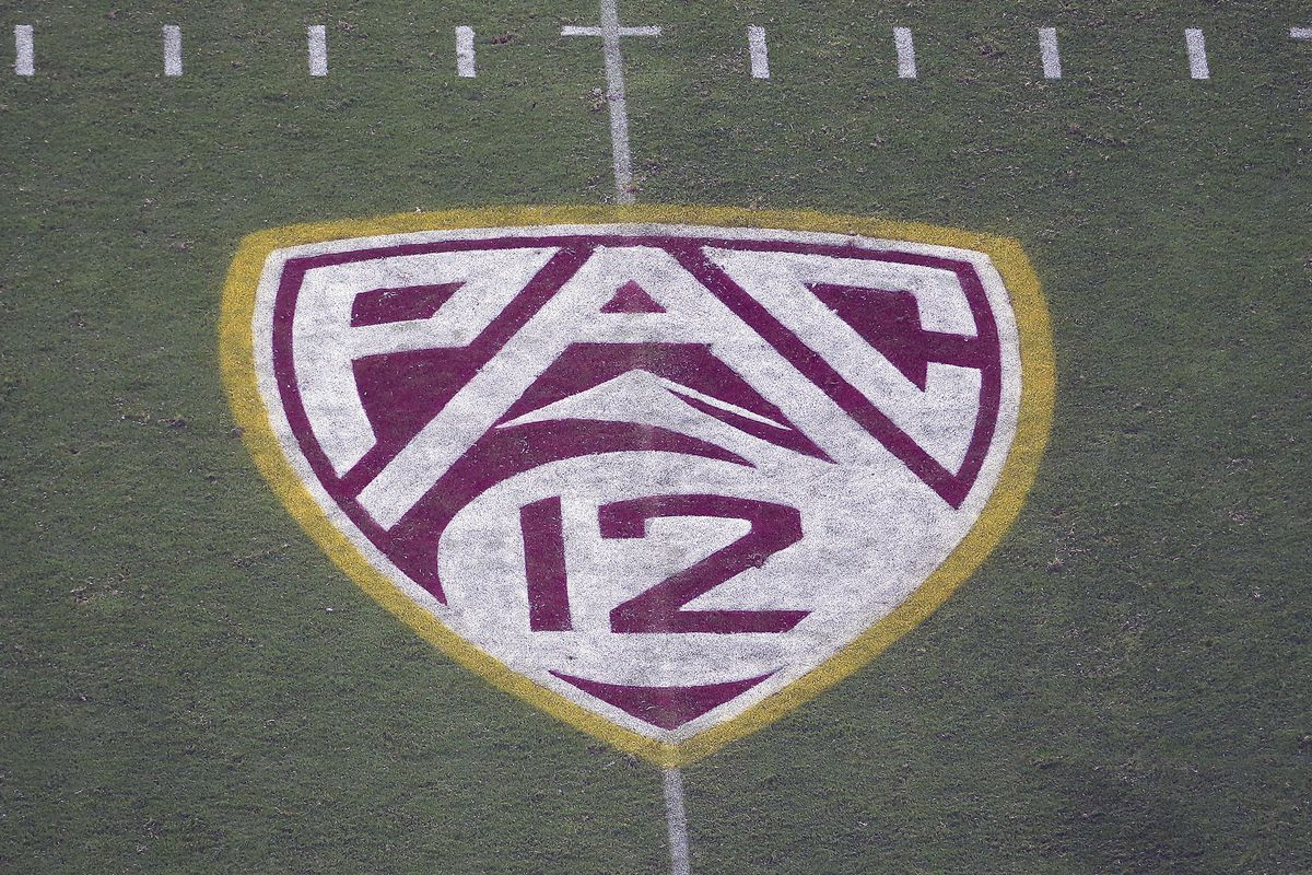 The Pac-12 logo is displayed on the field at Sun Devil Stadium during an NCAA college football game between Arizona State and Kent State in Tempe, Ariz. on Aug. 29, 2019.