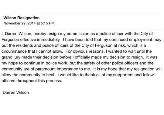 Darren Wilson resignation letter
