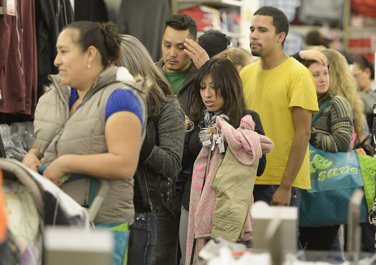 Shoppers waiting in line.