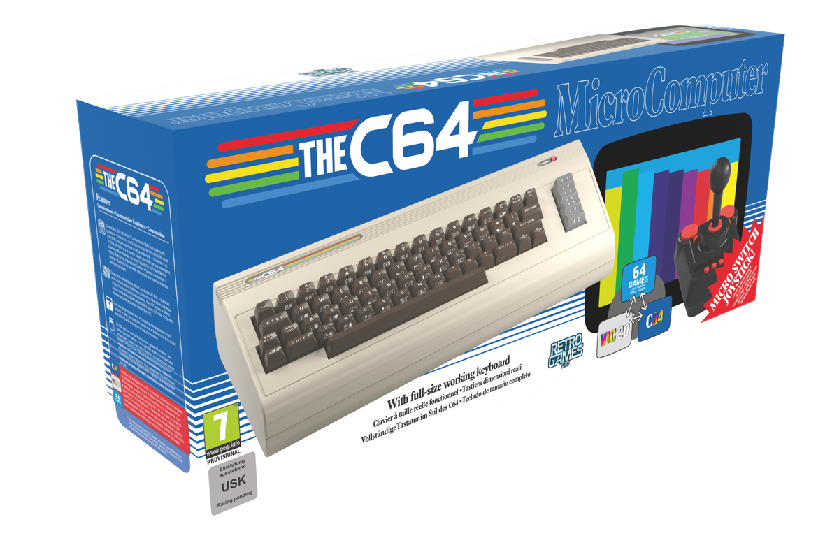 """product packaging for """"THEC64"""" a full-size recreation of the 1980s personal computer with a working keyboard"""