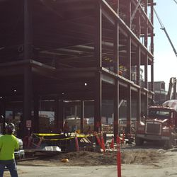 10:43 a.m. View looking south at plaza building from Waveland -