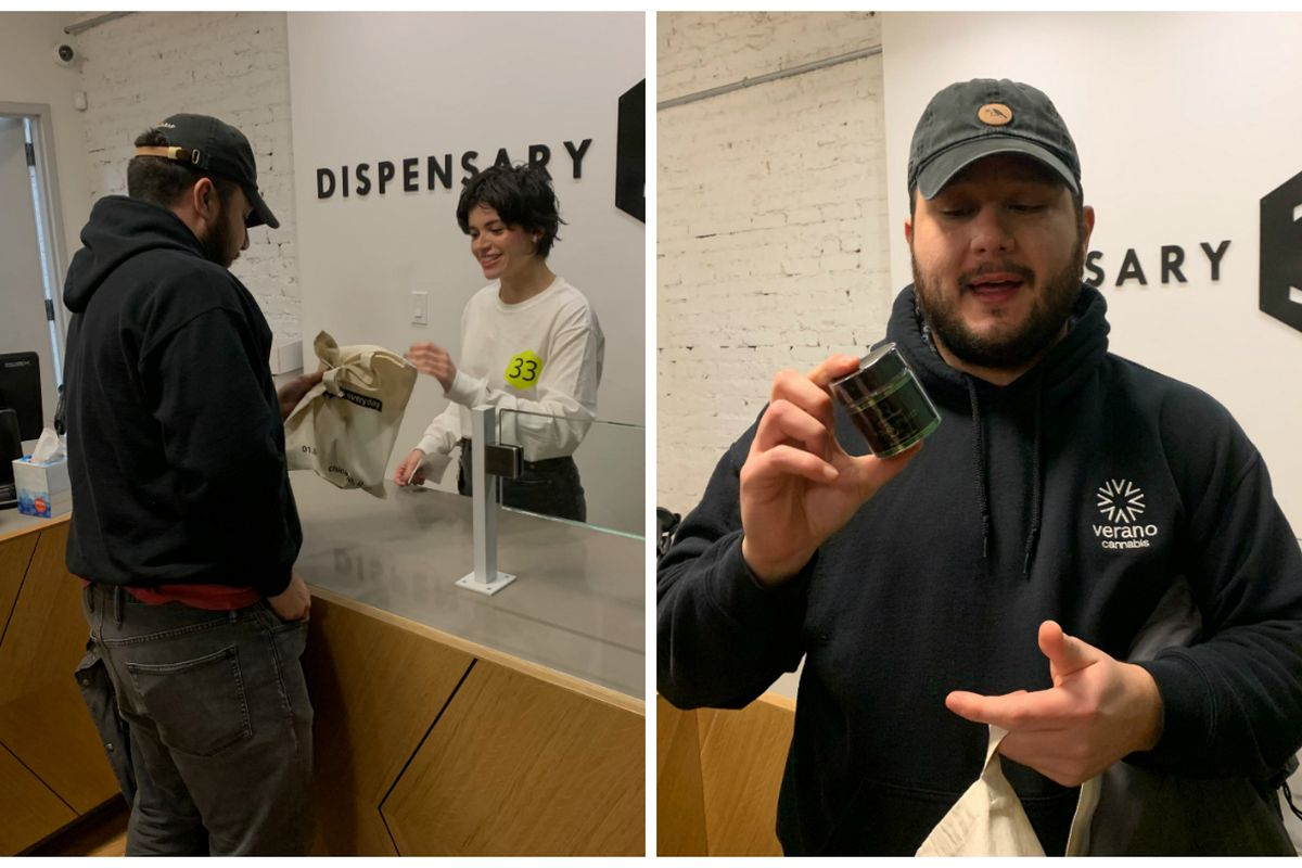 Renzo Mejia, of the West Loop, shows off his purchase of an eighth of an ounce of Motorbreath OG, the first legal sale of recreational weed in Illinois history.