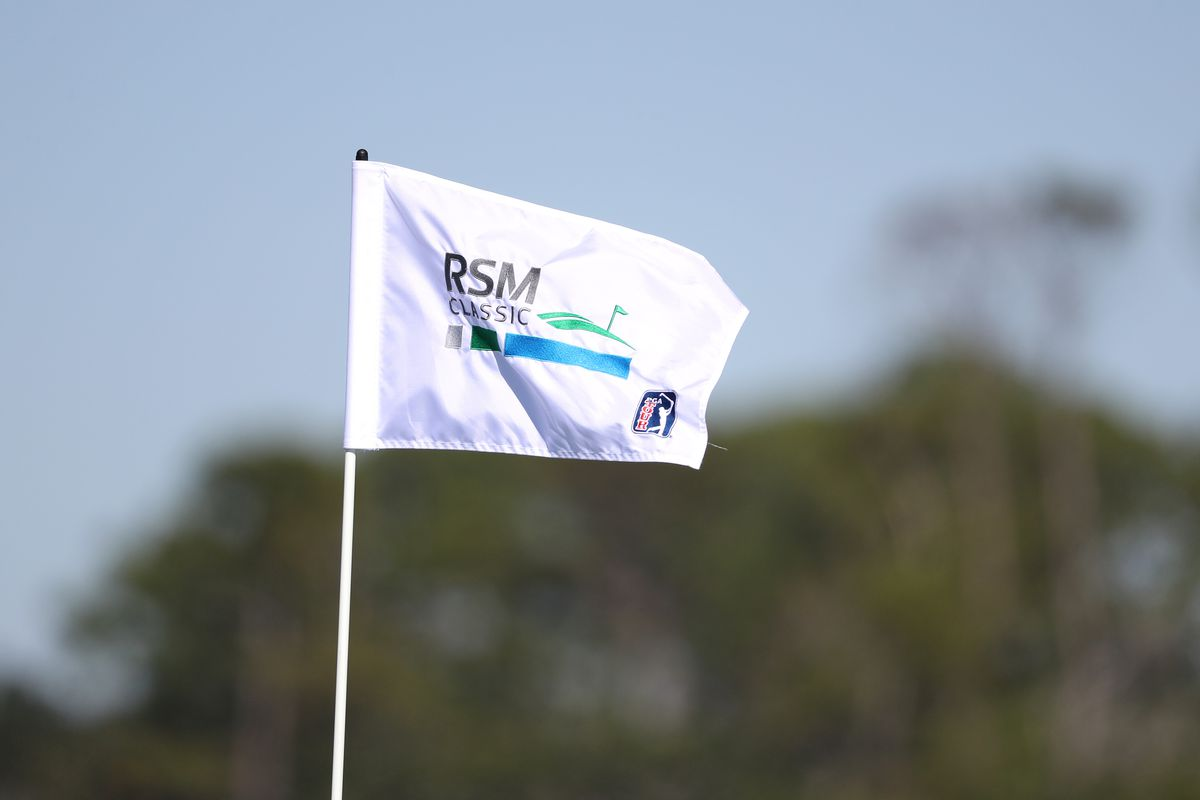 A detailed view of the RSM Classic logo on the pin marker during the second round of the RSM Classic at the Sea Island Golf Club Seaside Course on November 16, 2018 in St. Simons Island, Georgia.