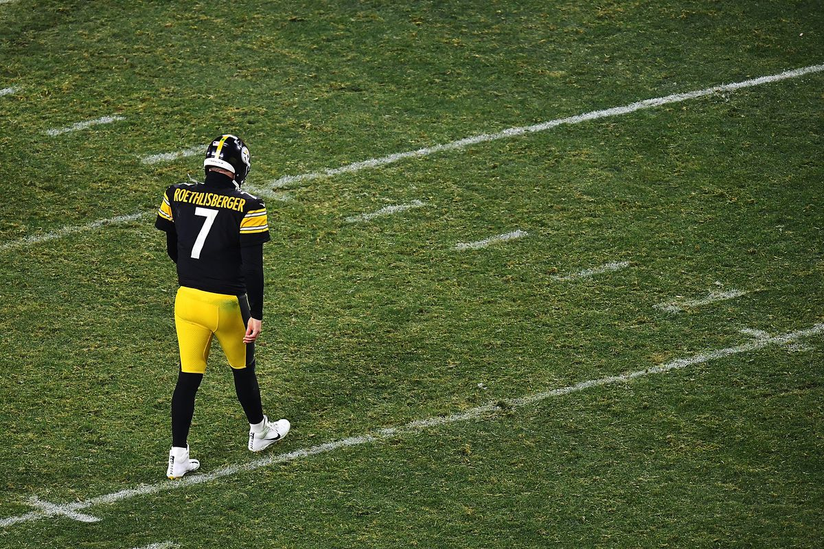 Ben Roethlisberger #7 of the Pittsburgh Steelers walks to the huddle during the second half of the AFC Wild Card Playoff game against the Cleveland Browns at Heinz Field on January 10, 2021 in Pittsburgh, Pennsylvania.