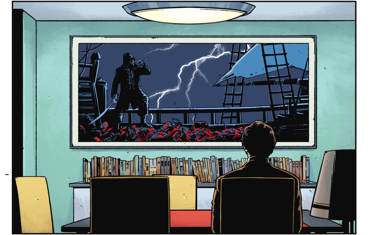 A man sits at a dining table in front of a large painting of a pirate standing on the deck of a ship covered in bloody corpses. The pirate blows a fife, as lightning crackles through the background just like on the cover of The Dark Knight Returns, in Rorschach #7, DC Comics (2021)