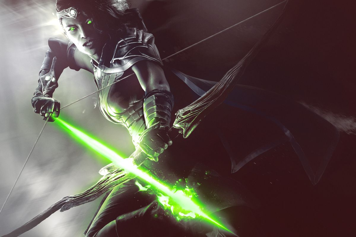 Magic: The Gathering Arena - an archer pulls back an arrow in her enchanted bow, which glows with bright green arcane energy.