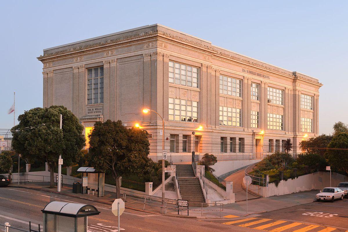 A large, baroque, rectangular concrete school building in San Francisco.