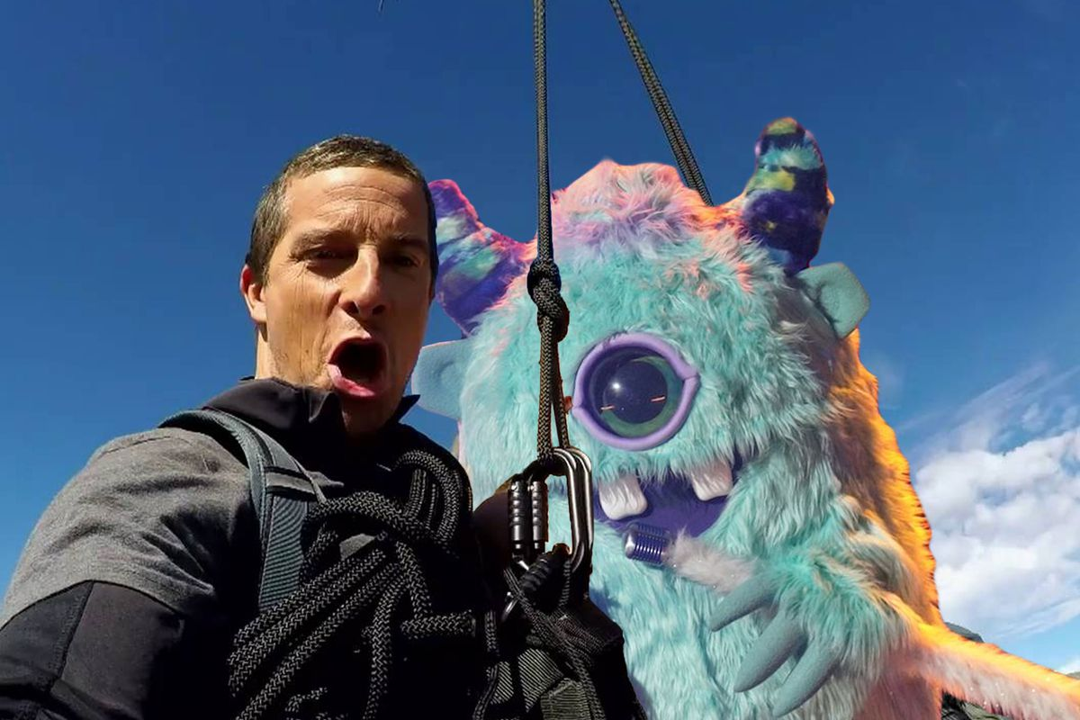 Bear Grylls and Monster rappelling