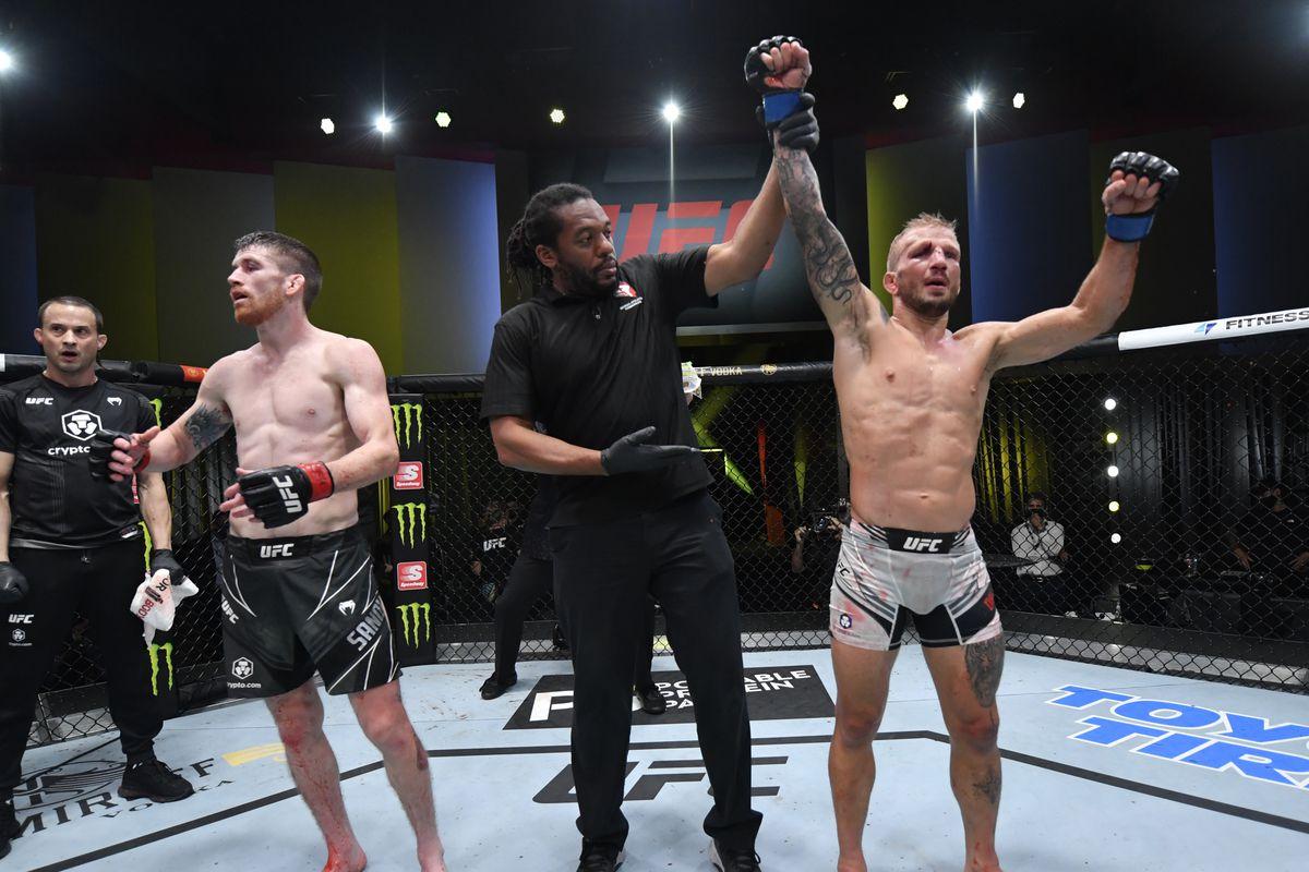 TJ Dillashaw defeated Cory Sandhagen at UFC Vegas 32
