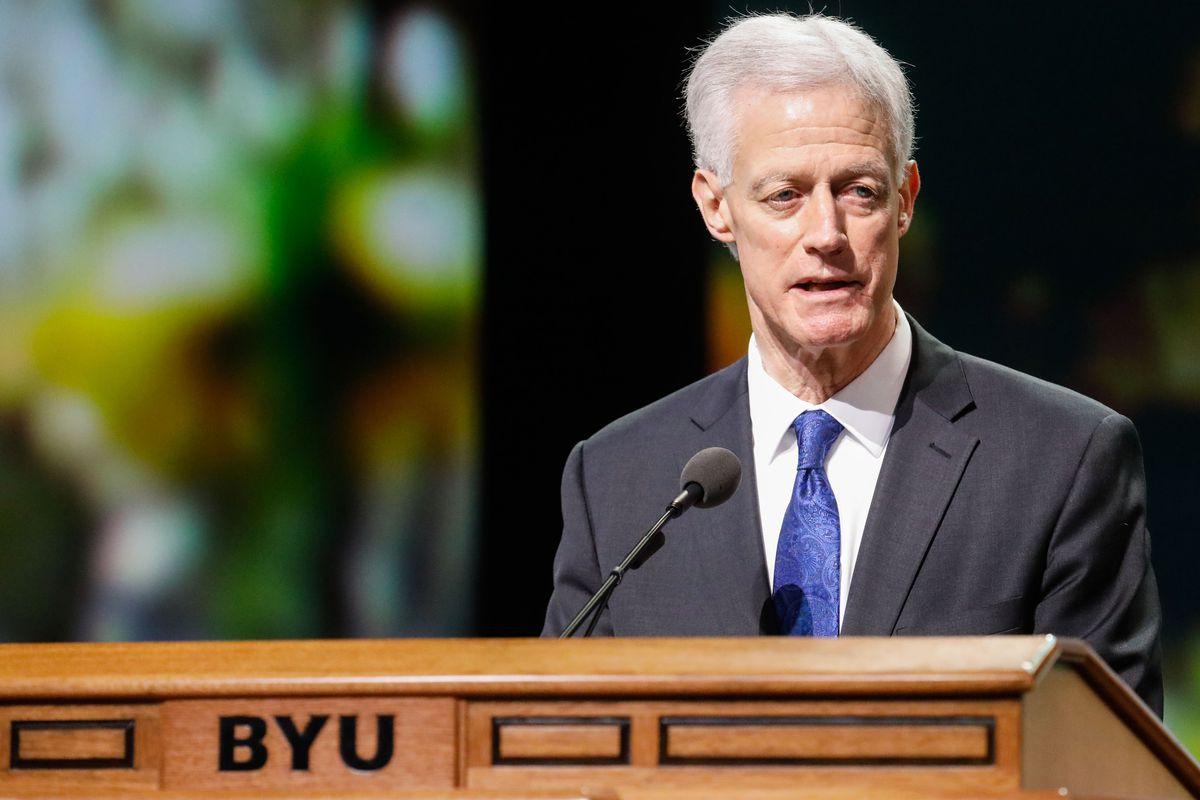 BYU president Kevin Worthen speaks on campus in Provo