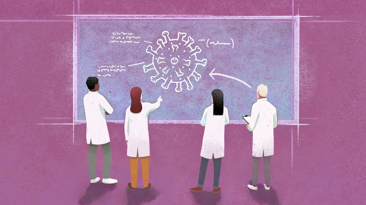 An illustration of a group of lab-coated scientists looking at a chalkboard that bears a drawing of the coronavirus.