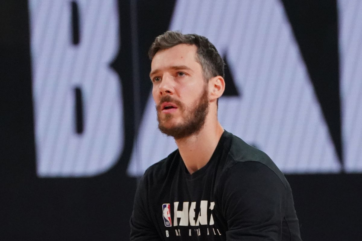 Goran Dragic of the Miami Heat warms up before Game Four of the NBA Finals against the Los Angeles Lakers on October 6, 2020 in Orlando, Florida at AdventHealth Arena.
