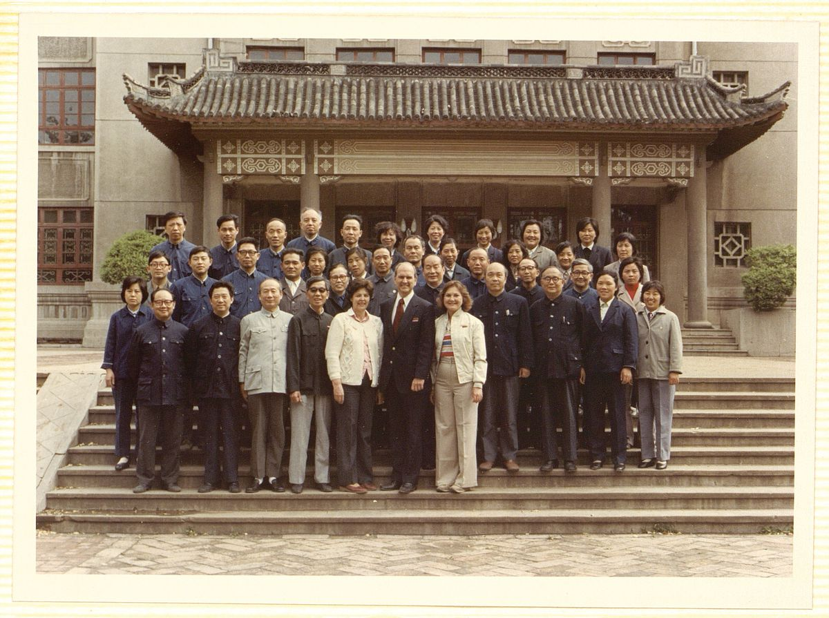 Dr. Russell M. Nelson's team gathers with medical professionals outside the Shandong Medical College in Jinan, China, in September of 1980.