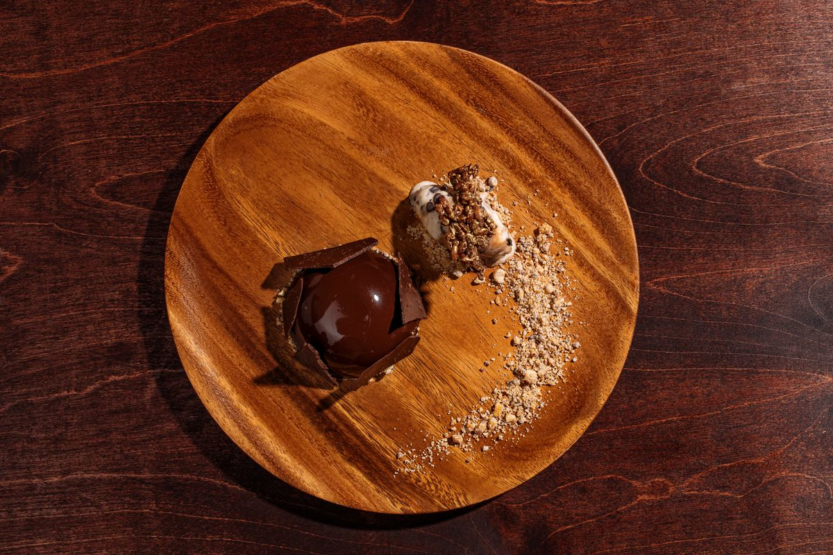 Chocolate mousse bomb at Abaca