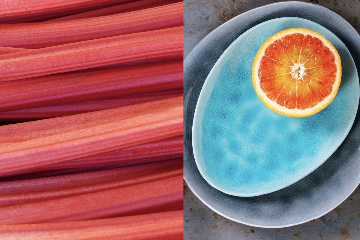 Rhubarb and blood oranges in composite, two of London restaurants' favourite seasonal ingredients
