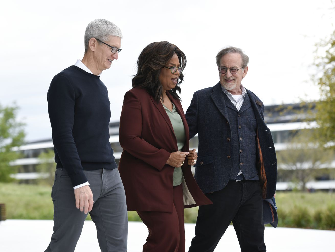 Apple CEO Tim Cook, Oprah Winfrey, and Steven Spielberg at an Apple event on March 25, 2019.