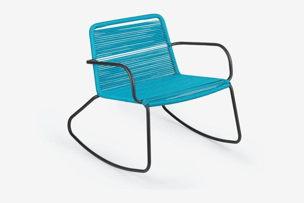 Blue rocking chair.