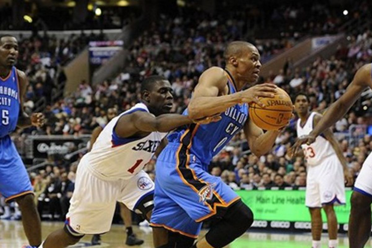 Russell Westbrook (blue) and Jrue Holiday (white) were two Bruins that arguably underachieved because of Howland.  Alford cannot afford the same mistake.