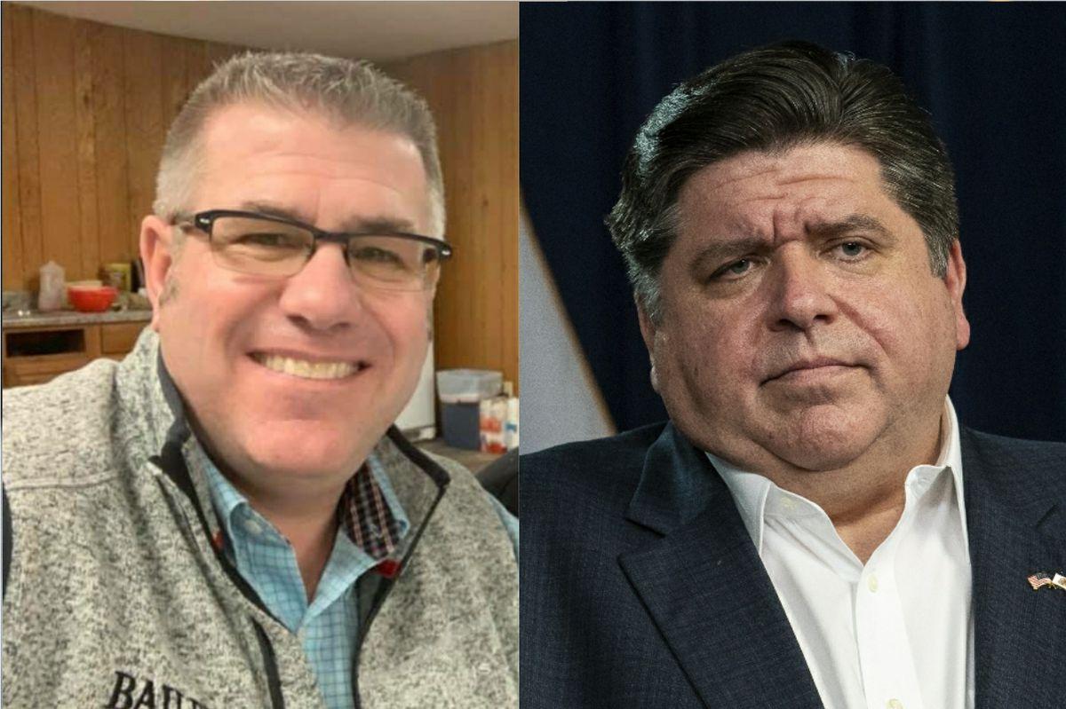 State Sen. Darren Bailey, left; Gov. J.B. Pritzker, right.