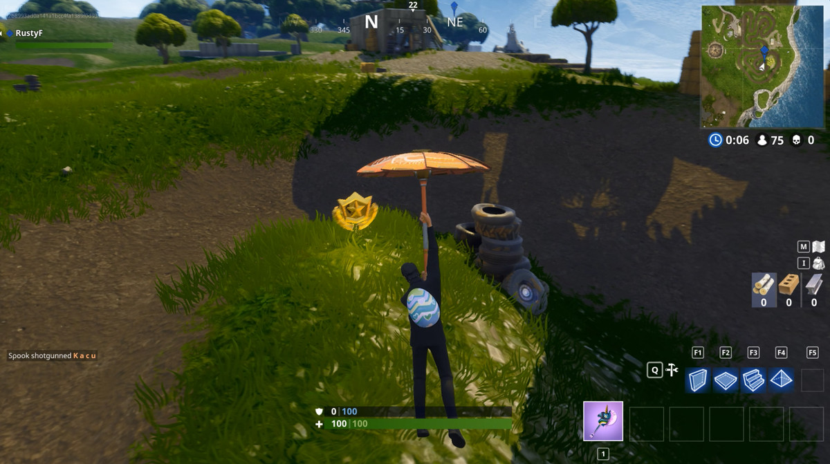 follow the treasure map found in salty springs fortnite challenge location - fortnite tree skin