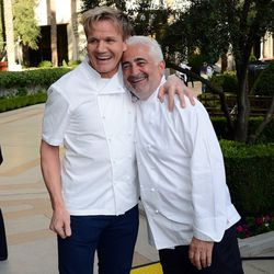 Gordon Ramsay and Guy Savoy at the Grand Tasting at Vegas Uncork'd. Photo: Ethan Miller/Getty Images