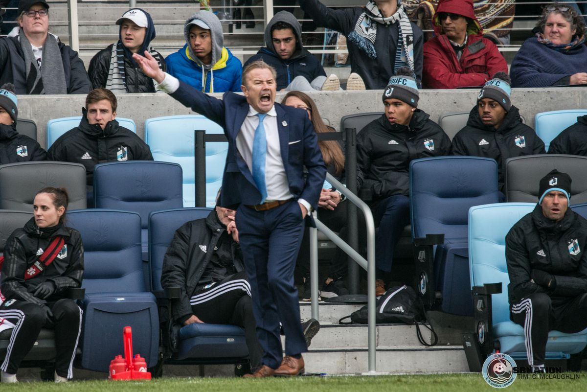 Adrian Heath expresses his frustration during the inaugural match at Allianz Field
