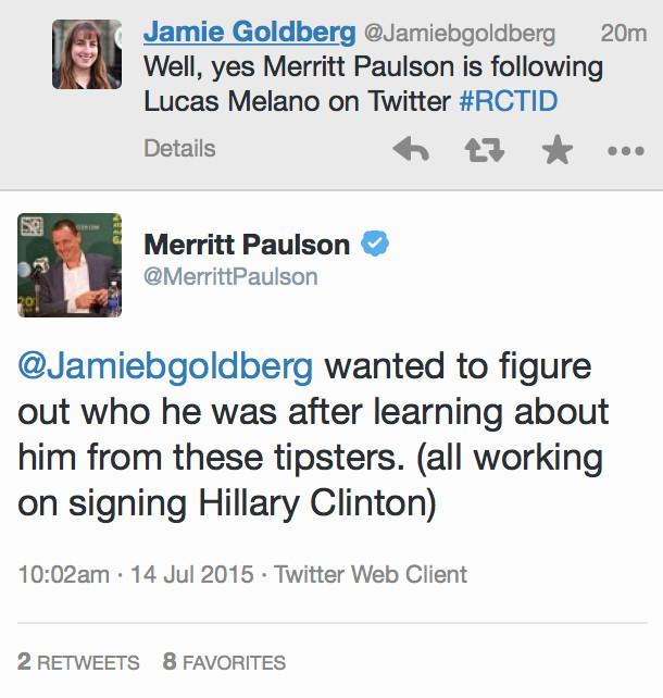 Merritt Paulson talks about his follows on Twitter. 7/14/15