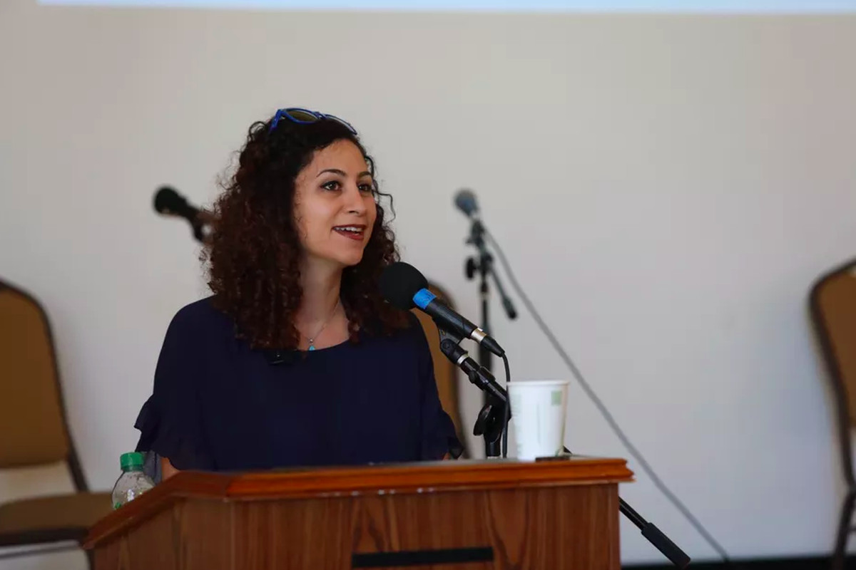 a photo of Reem Assil at the La Cocina Conference in 2018