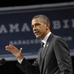 """In this July 24, 2012, photo, President Barack Obama speaks at a fundraising event at the Oregon Convention Center in Portland, Ore. Mitt Romney and Barack Obama are running so close to each other right now that the Real Clear Politics """"poll of polls"""" shows Obama besting Romney by the narrowest of margins: 0.1 percent."""