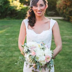 """""""I wanted my wedding look to be nostalgic yet timeless, but most importantly it needed to be 'me.' I wore a Monique Lhuillier dress, a BHLDN veil and custom Jerome C. Rousseau shoes."""" — Ali Smith, <a href=""""http://www.dvf.com/""""target=""""_blank"""">Diane v"""