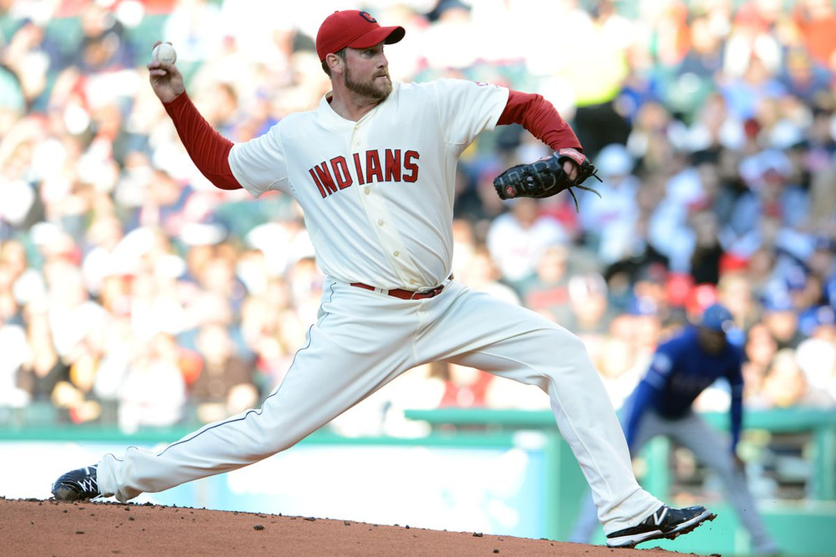 CLEVELAND, OH - MAY 5: Starting pitcher Derek Lowe #26 of the Cleveland Indians throws during the first inning against the Texas Rangers at Progressive Field on May 5, 2012 in Cleveland, Ohio. (Photo by Jason Miller/Getty Images)