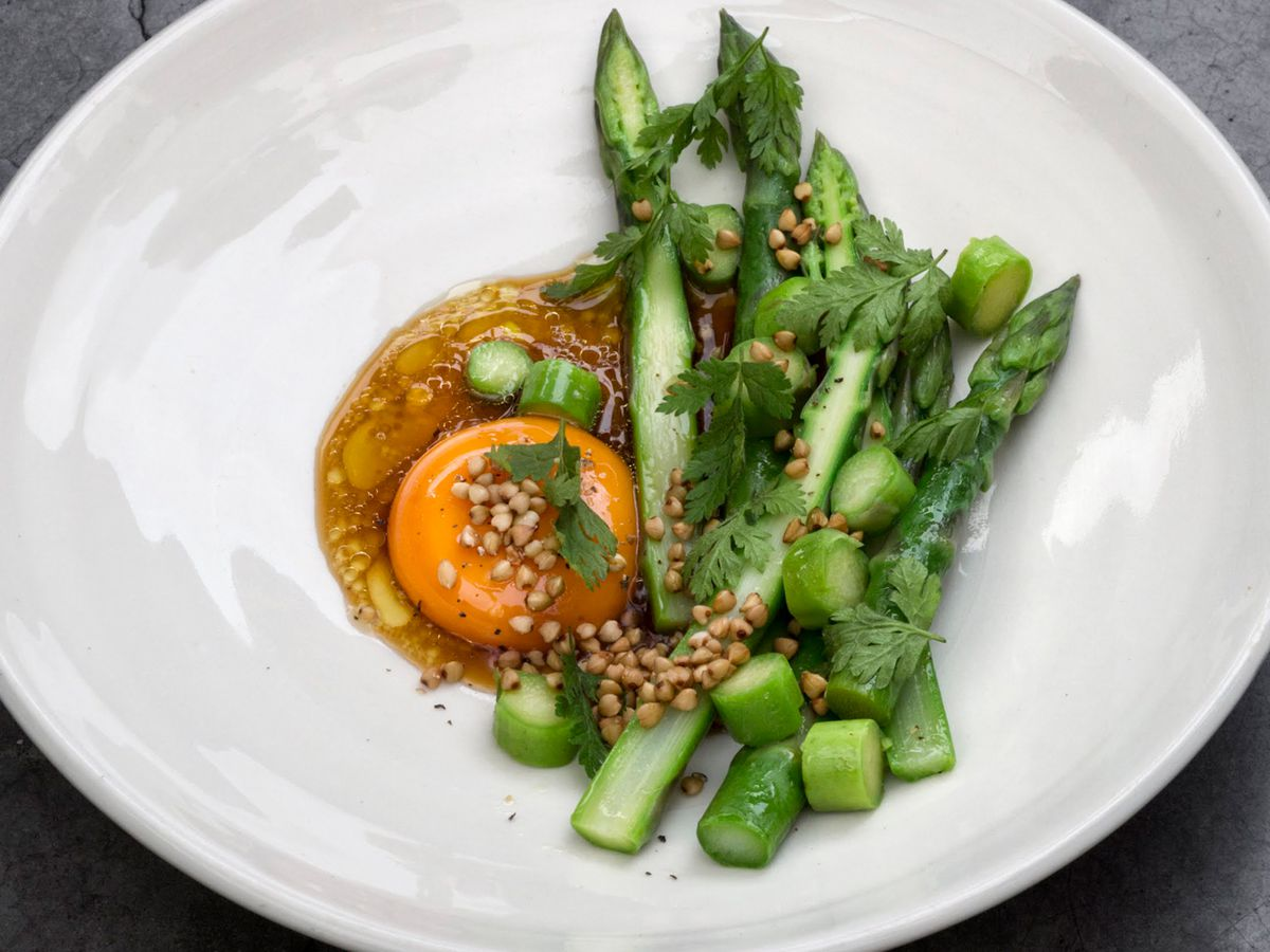 Asparagus, buckwheat, and egg yolk at Michelin-starred tasting menu restaurant Lyle's in London