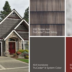 The weathered-wood look is right at home on this stately shingle-style home that's been kicked up a notch with rich Wineberry and Ironstone accents.