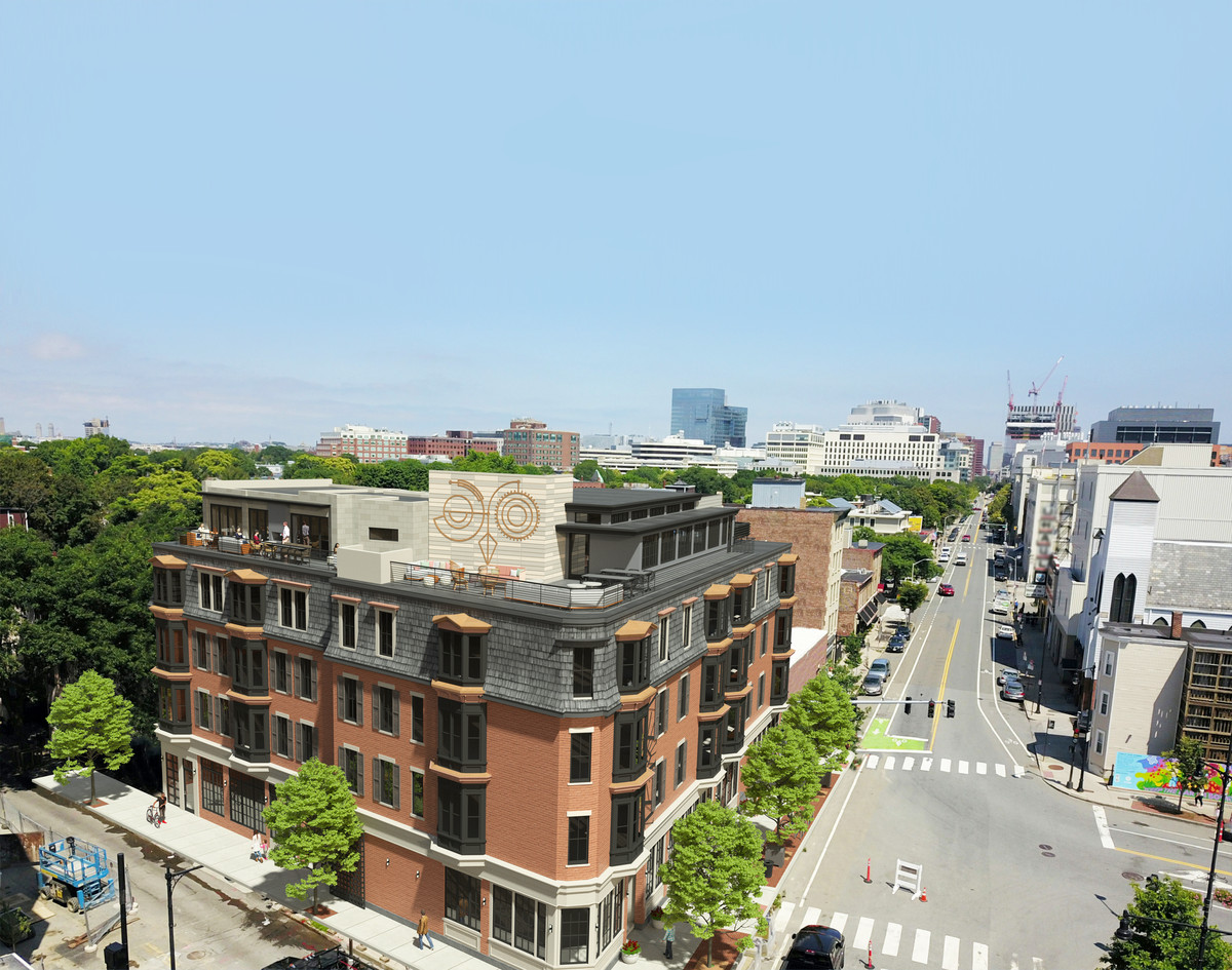 Rendering of a four-story hotel on a city corner complete with a rooftop terrace