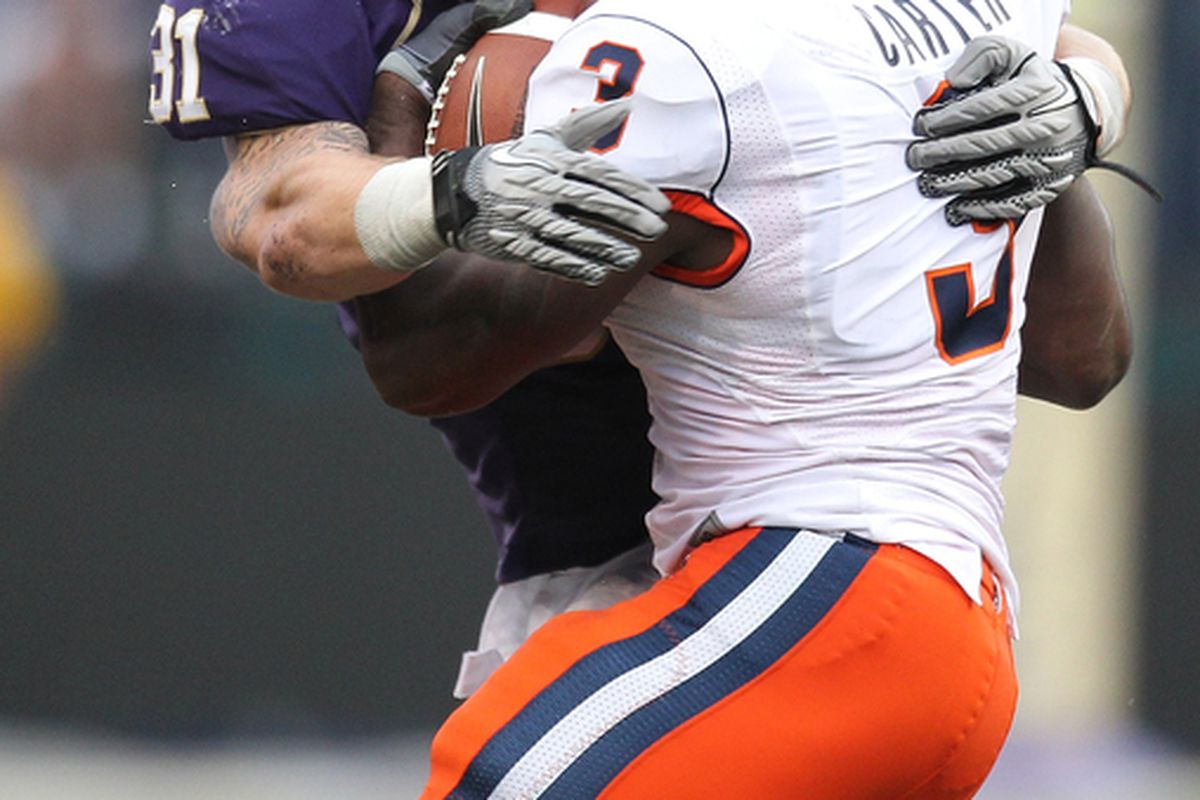 Cort Dennison is one of the rocks that Coach Holt will build his 2011 defense around. The senior MLB from Salt Lake City is the QB of the Husky defense. (Photo by Otto Greule Jr/Getty Images)