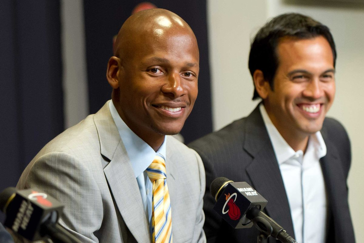 July 11 2012; Miami, FL, USA;  Miami Heat player Ray Allen (left) listens to a reporter's question as head coach Erik Spoelstra (right) looks on during a press conference at American Airlines Arena. Mandatory Credit: Steve Mitchell-US PRESSWIRE