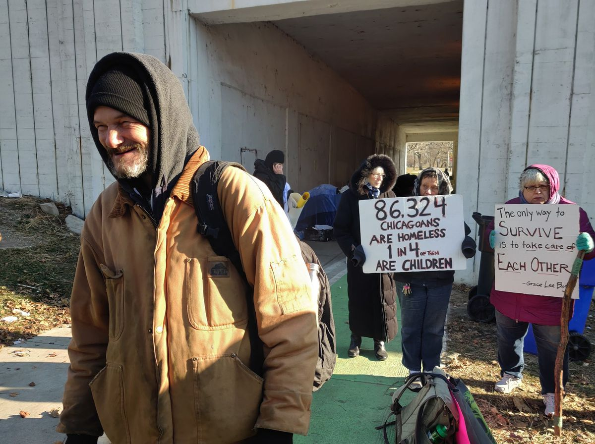 """Tom Gordon, dubbed the unofficial """"mayor"""" of the tent city that has sprung up in the Wilson Avenue viaduct at Lake Shore Drive, said employees of the city Department of Transportation warned them of the impending eviction on Wednesday morning."""
