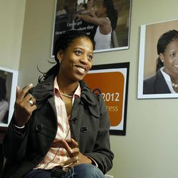 Saratoga Springs Mayor Mia Love talks Thursday, Dec. 22, 2011 about her plans to run for Congress at what will become her campaign headquarters in South Jordan.