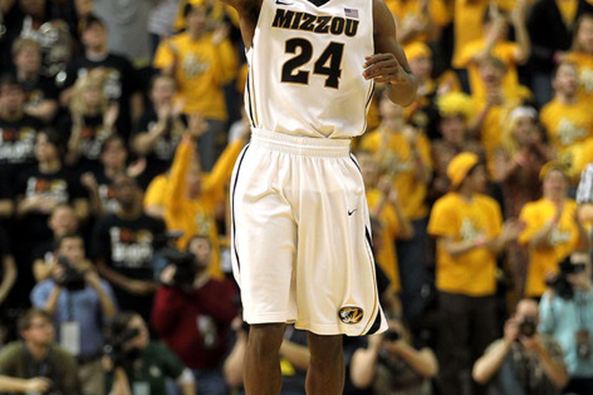 COLUMBIA, MO - FEBRUARY 11:  Kim English #24 of the Missouri Tigers celebrates after scoring during the game against the Baylor Bears on February 11, 2012  at Mizzou Arena in Columbia, Missouri.  (Photo by Jamie Squire/Getty Images)