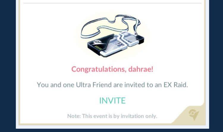 An invitation to a Pokémon Go EX raid