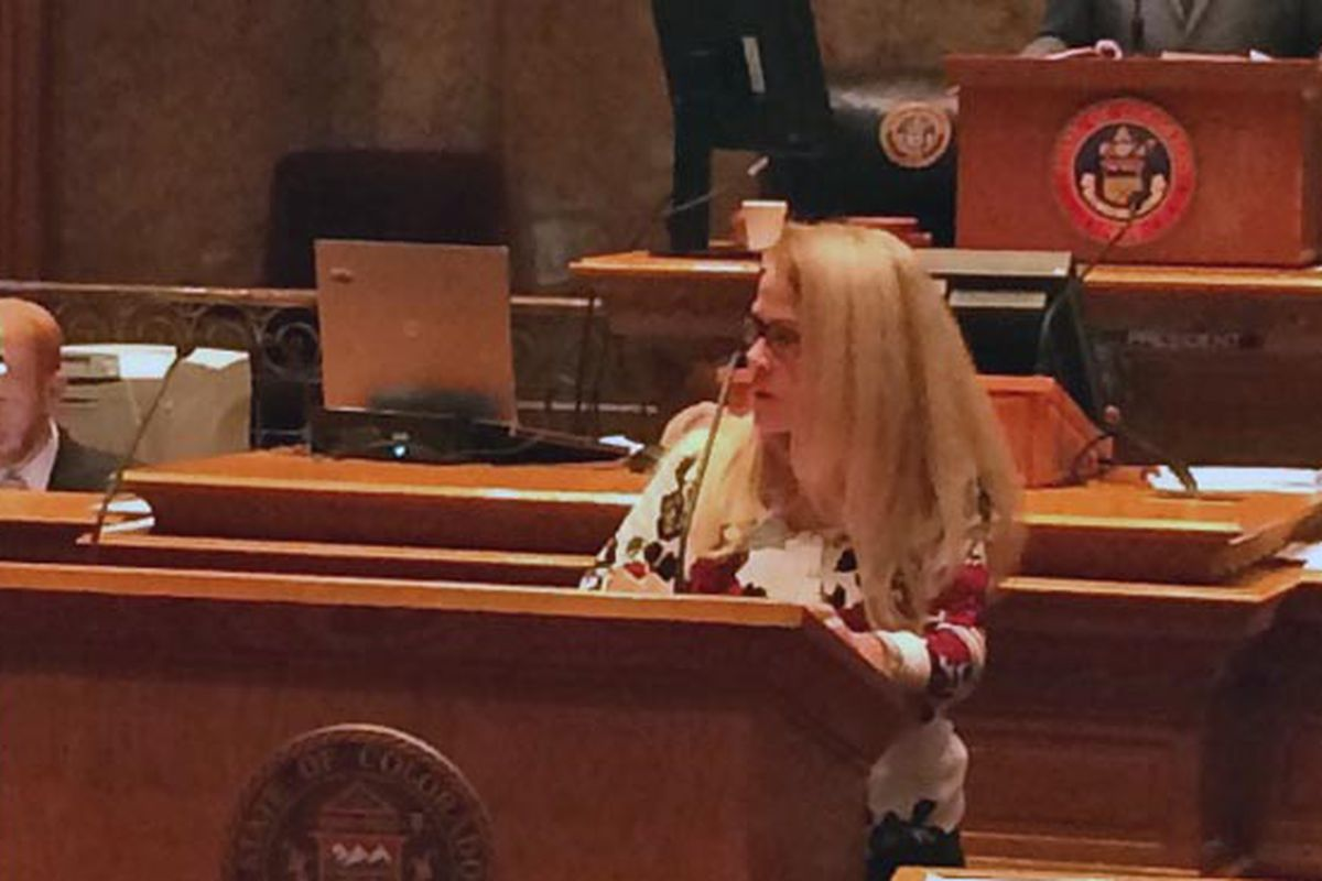 Sen. Vicki Marble, R-Fort Collins, argues for cutting funding for PARCC tests.
