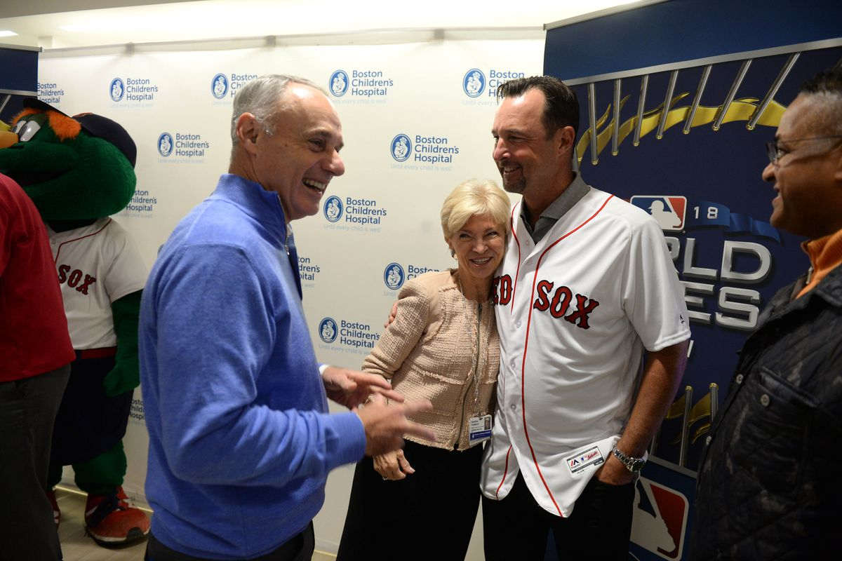 MLB And Boston Red Sox Celebrate The World Series With Boston Children's Hospital