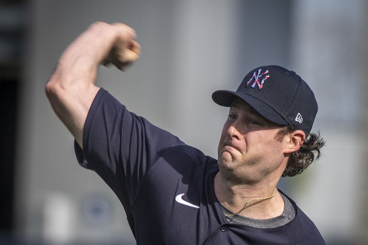 New York Yankees pitcher Gerrit Cole during spring training, 2020