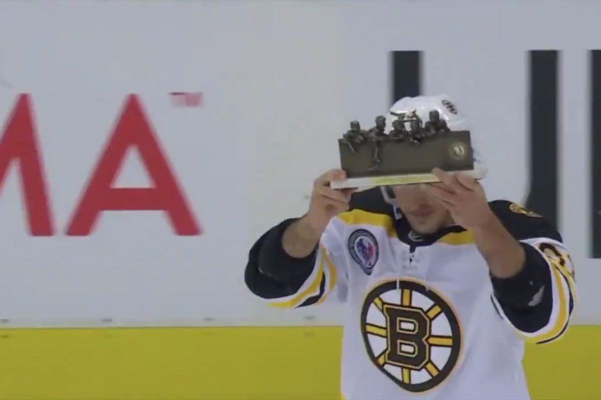 "Brad Marchand celebrates his ""Player of the Game"" honor in front of an adoring Toronto crowd"