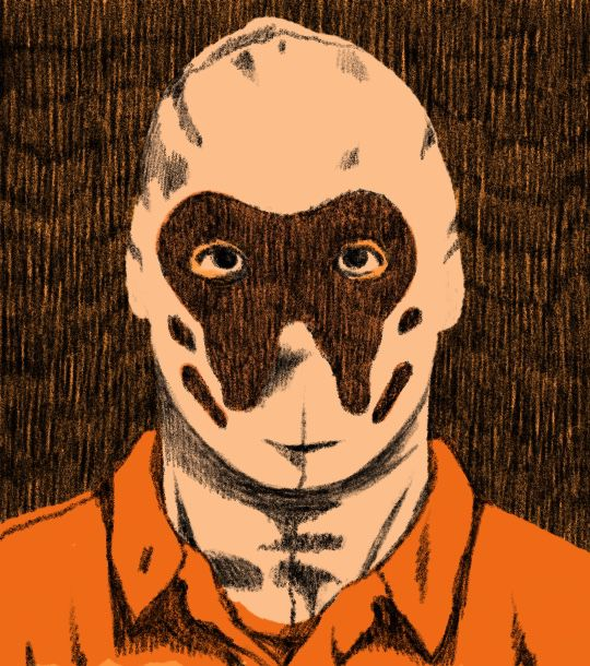 An illustration of a man in a ski mask for the tv show Watchmen.