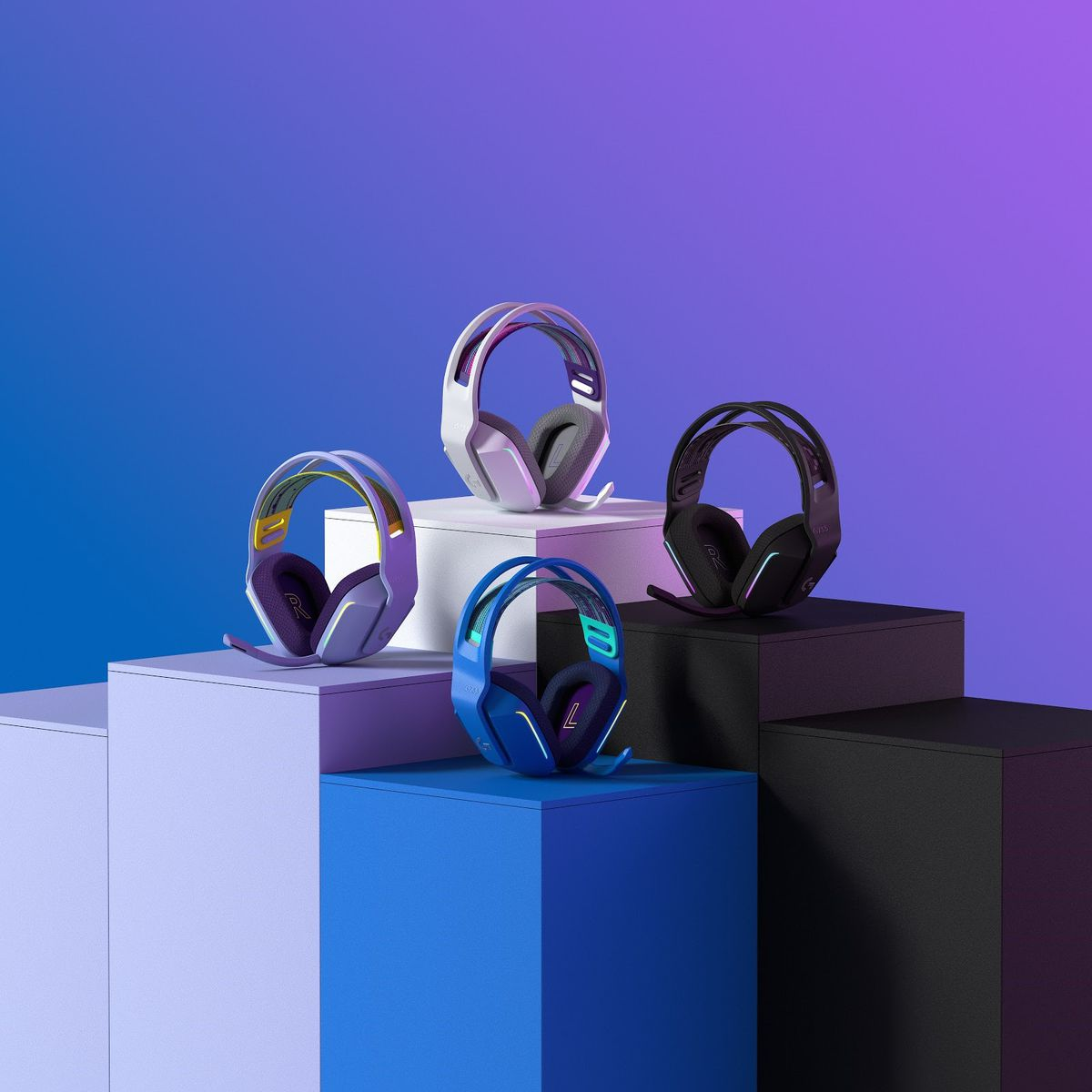 All four colors of the Logitech G733 headset on columns
