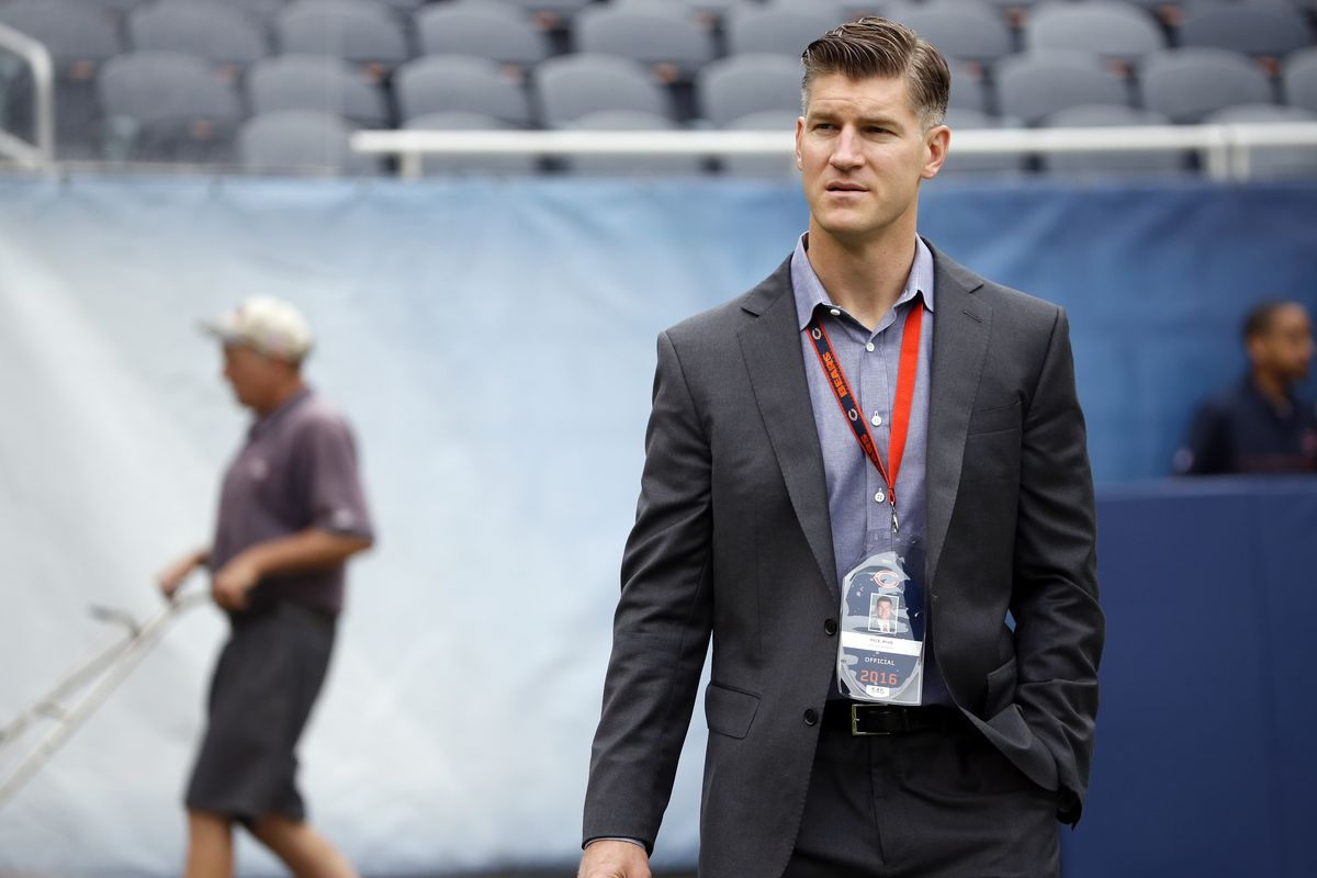 Bears general manager Ryan Pace said Tuesday that the Bears remain committed to Mitch Trubisky.