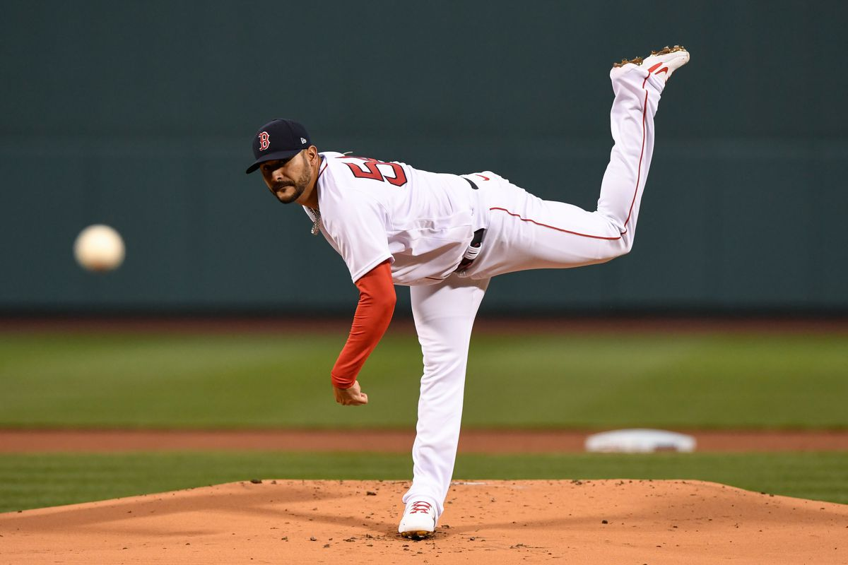 Boston Red Sox starting pitcher Martin Perez throws a pitch against the Tampa Bay Rays during the first inning at Fenway Park.