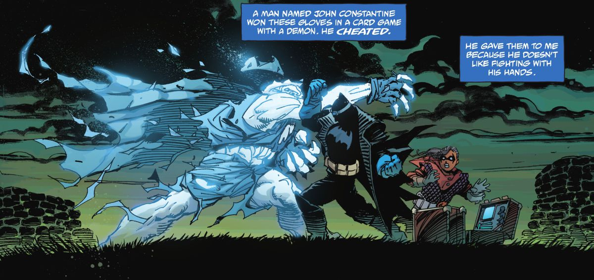 Batman slugs Gentleman Ghost one with the gloves that John Constantine gave him once, in Batman: The Detective #1, DC Comics (2021).